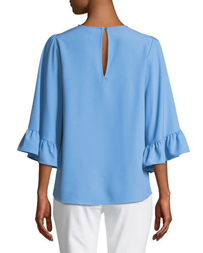 3/4 Bell-Sleeve Crepe Blouse