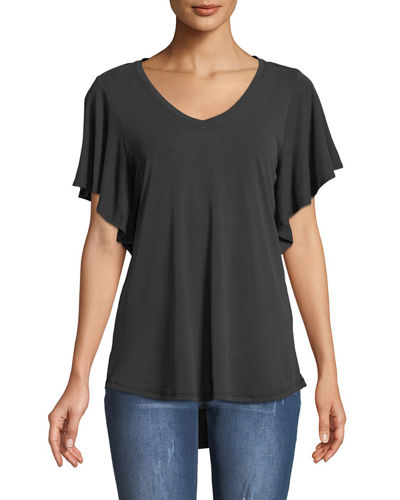 V-Neck Butterfly-Sleeve Tee