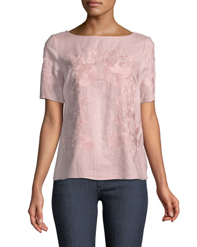 Short-Sleeve Embroidered Gauze Blouse