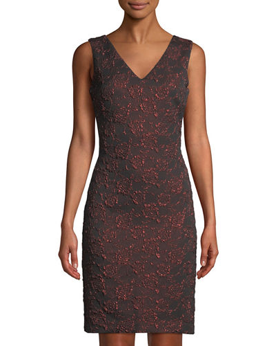 Donna Ricco Shimmer Floral-Jacquard Sheath Dress