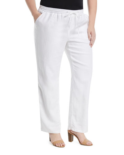 Drawstring Linen Pants, Plus Size