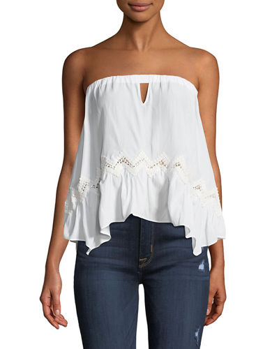 Leah Strapless Crochet-Trim Blouse