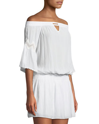 Nico Off-The-Shoulder Smocked Waist Mini Dress Ramy Brook