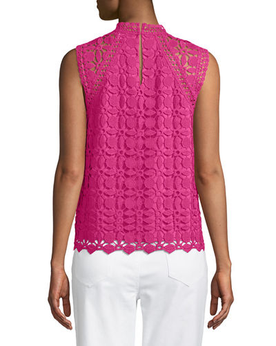 Crochet Sleeveless Mock-Neck Blouse