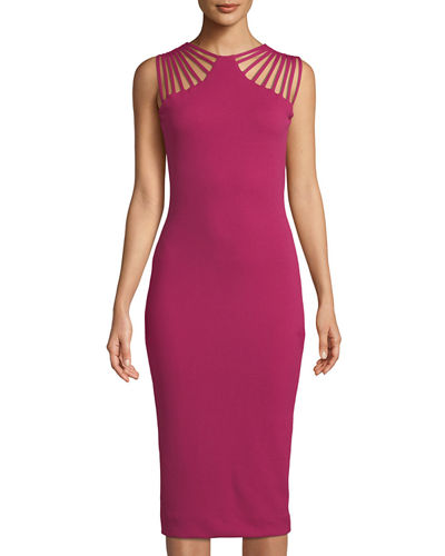 Gwen Banded-Shoulder Cocktail Dress