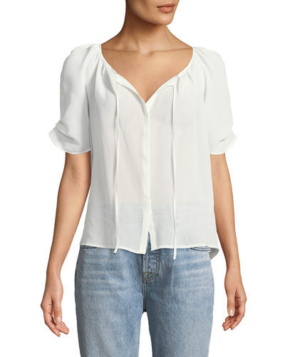 Joie Berkley Flutter-Sleeve Button-Front Blouse