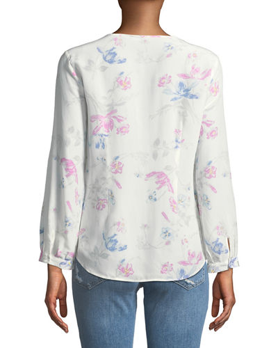 Purine Button-Front Floral Silk Blouse