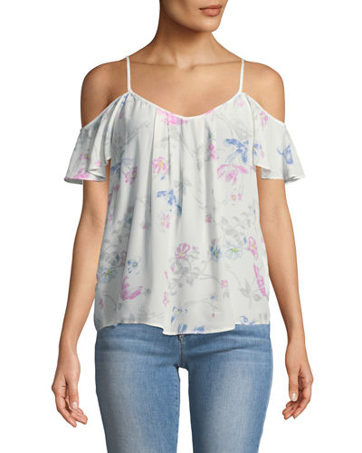 Adorlee Floral Cold-Shoulder Blouse