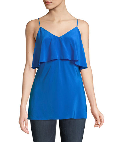Tiered V-Neck Satin Camisole