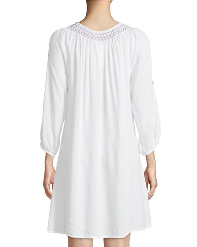 Long-Sleeve Embroidered Peasant Dress