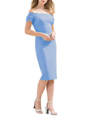 OFF-THE-SHOULDER BODYCON MIDI DRESS