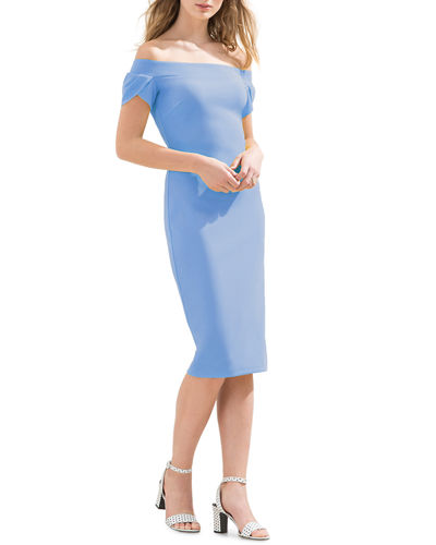 Donna Morgan Off-The-Shoulder Bodycon Midi Dress