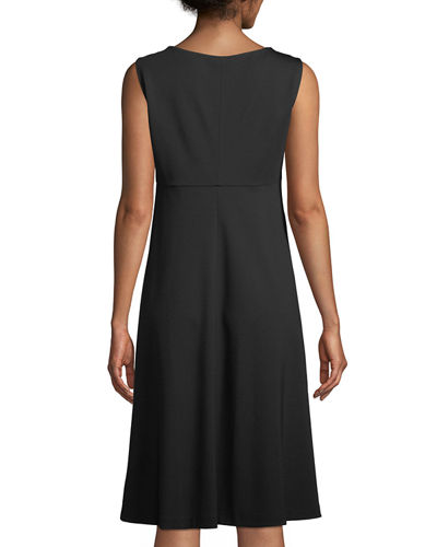 Sleeveless Viscose-Stretch Trapeze Dress