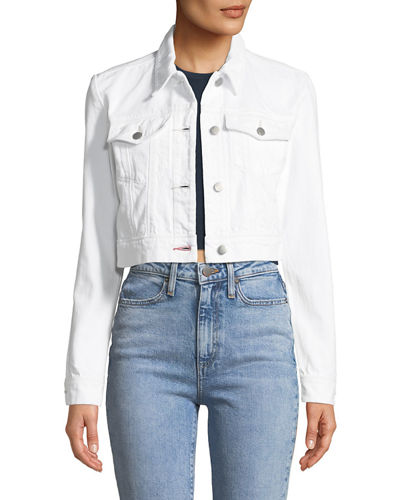 J Brand Faye Button-Down Cropped Denim Jacket