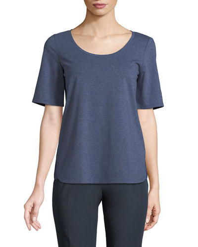 Scoop-Neck Charmeuse-Hem Tee