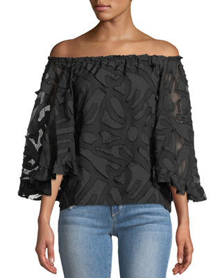 ALBERTO MAKALI Off-The-Shoulder Clipped-Embroidered Blouse in Black