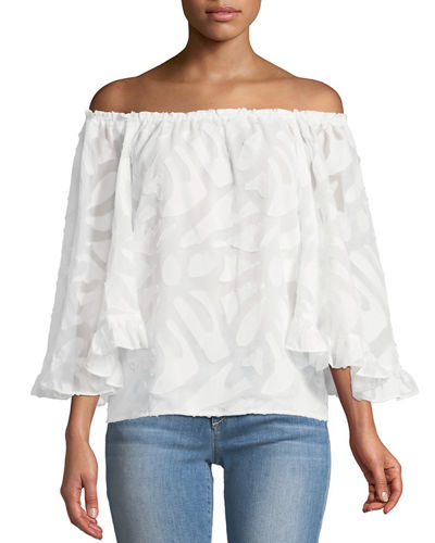 Off-The-Shoulder Clipped-Embroidered Blouse