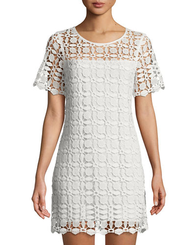 Venise Crochet Illusion Shift Dress