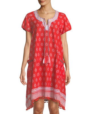 NAUDIC Embroidered Mini Shift Dress in Red