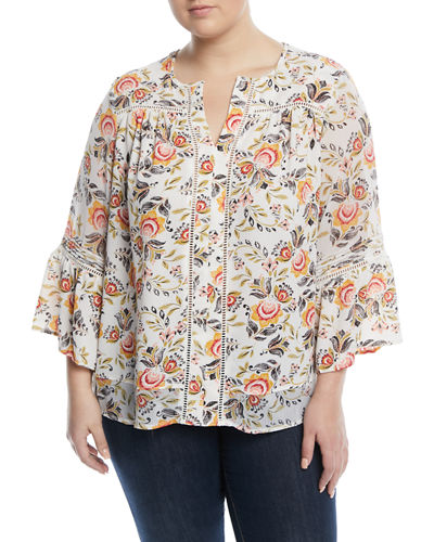 Polka-Dot Printed Bell-Sleeve Blouse, Plus Size