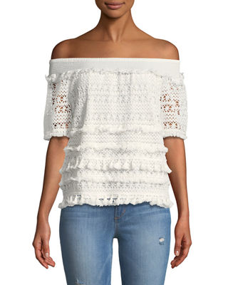 OFF-THE-SHOULDER CROCHETED TEE