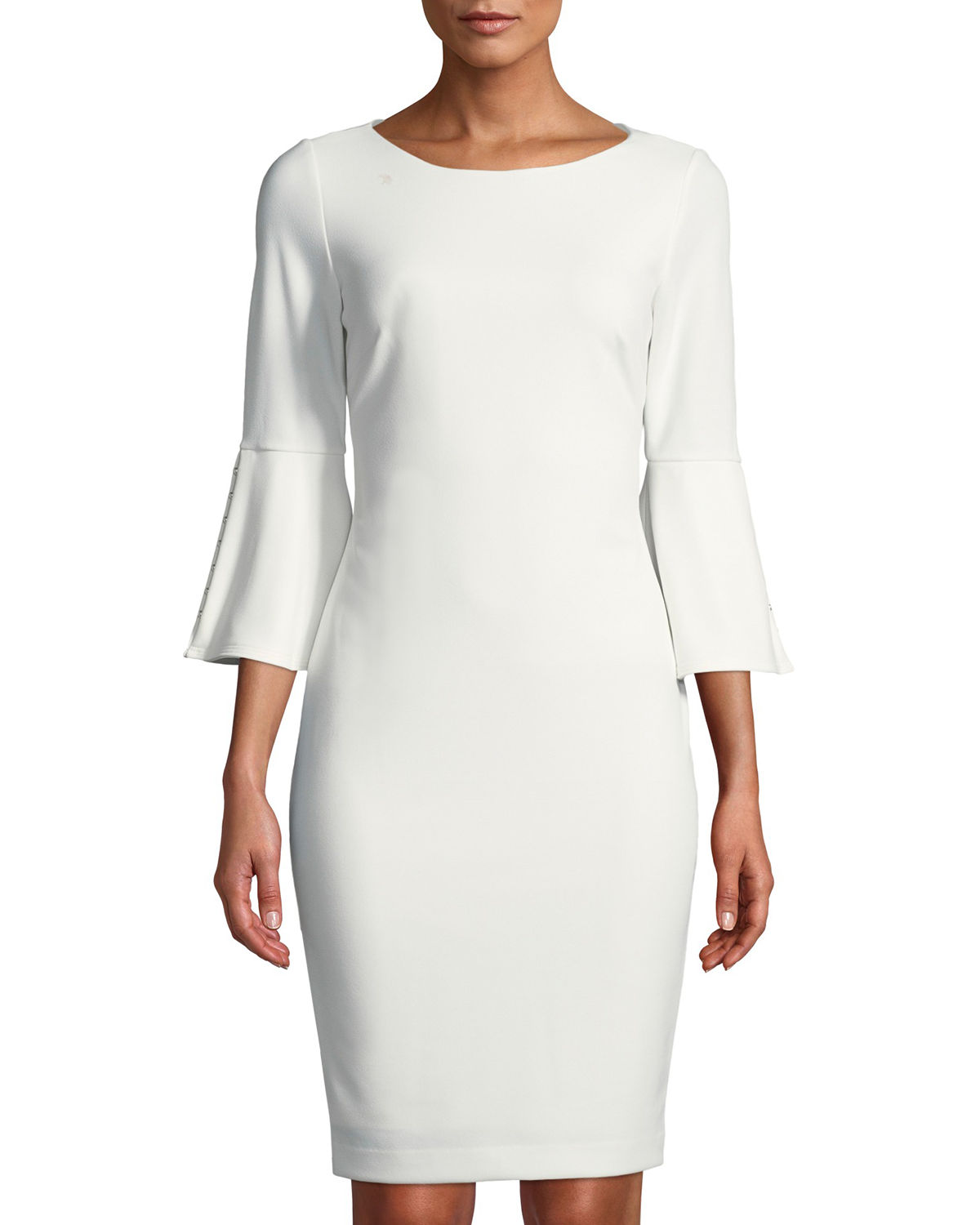 Pearlescent Bell-Sleeve Sheath Dress