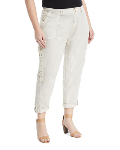 Lace-Side Linen Cargo Pants, Plus Size