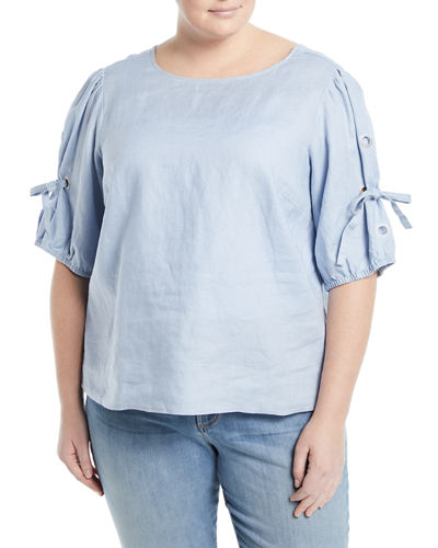 Linen Tie-Sleeve Blouse, Plus Size