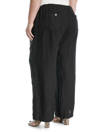 Wide-Leg Linen Pants, Plus Size