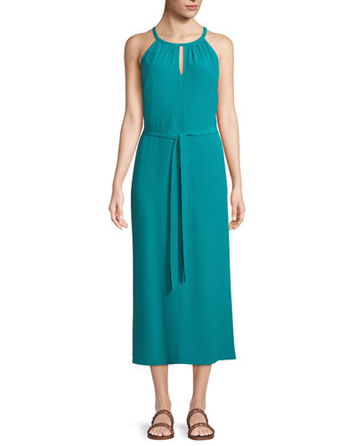 Sleeveless Long Viscose Crepe Halter Dress