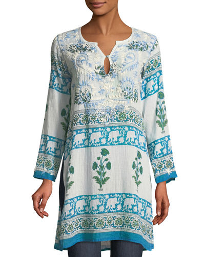 Long-Sleeve Wallpaper Embroidered Tunic