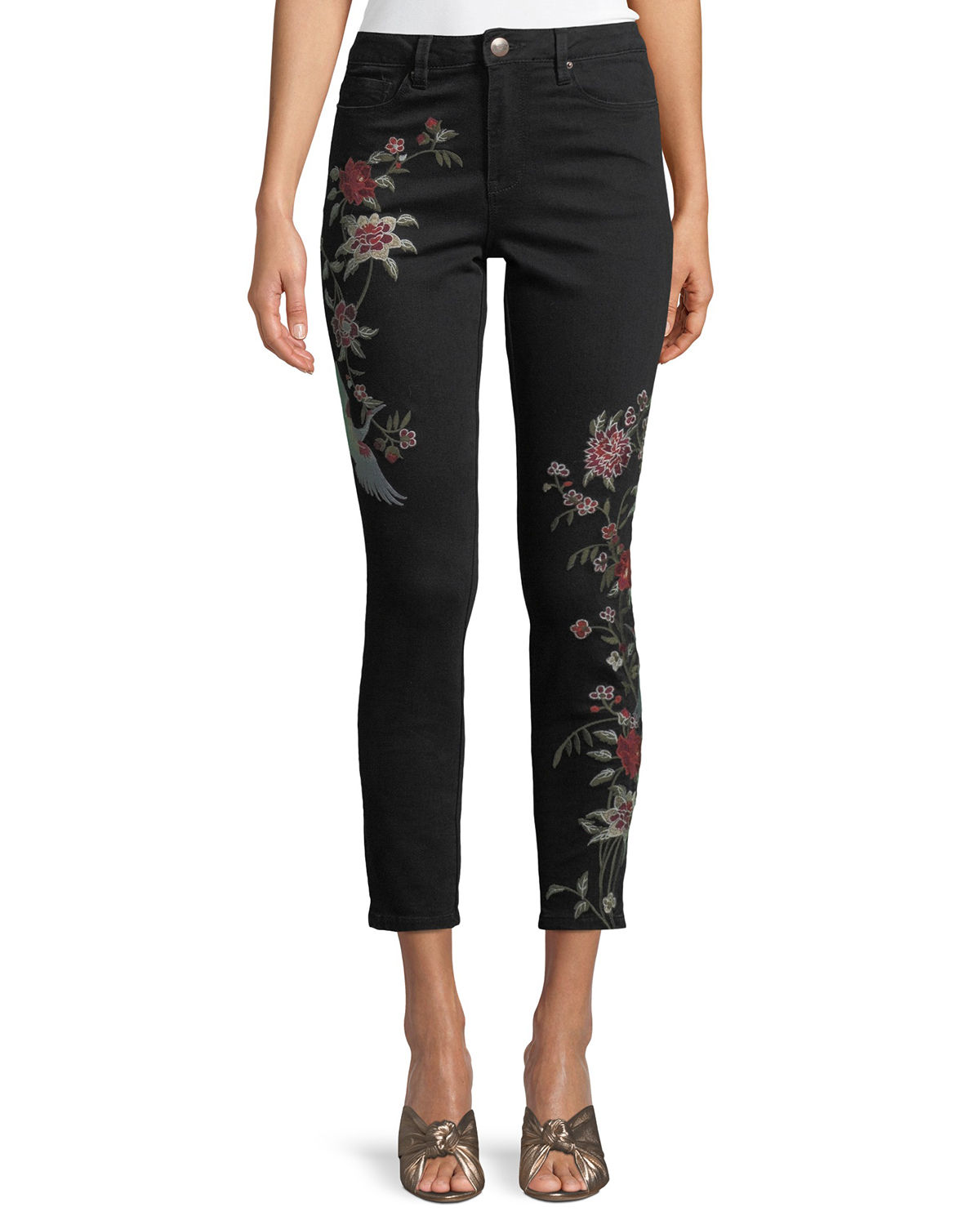 High-Rise Embroidered Jeans, Blue
