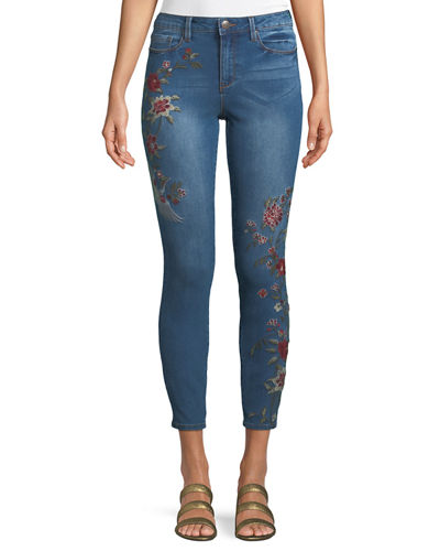 High-Rise Embroidered Jeans