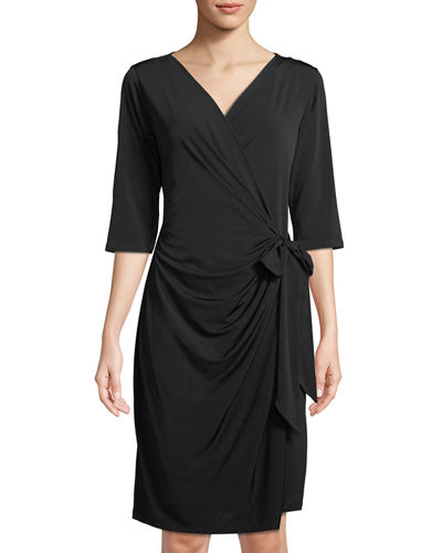 Half-Sleeve Wrap Dress