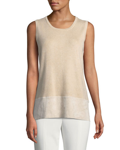 Iconic American Designer Sleeveless Sweater with Faux-Suede Trim