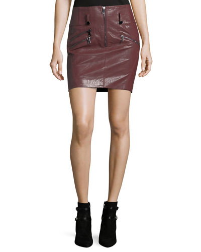 Faux-Leather Zip-Front Pencil Skirt