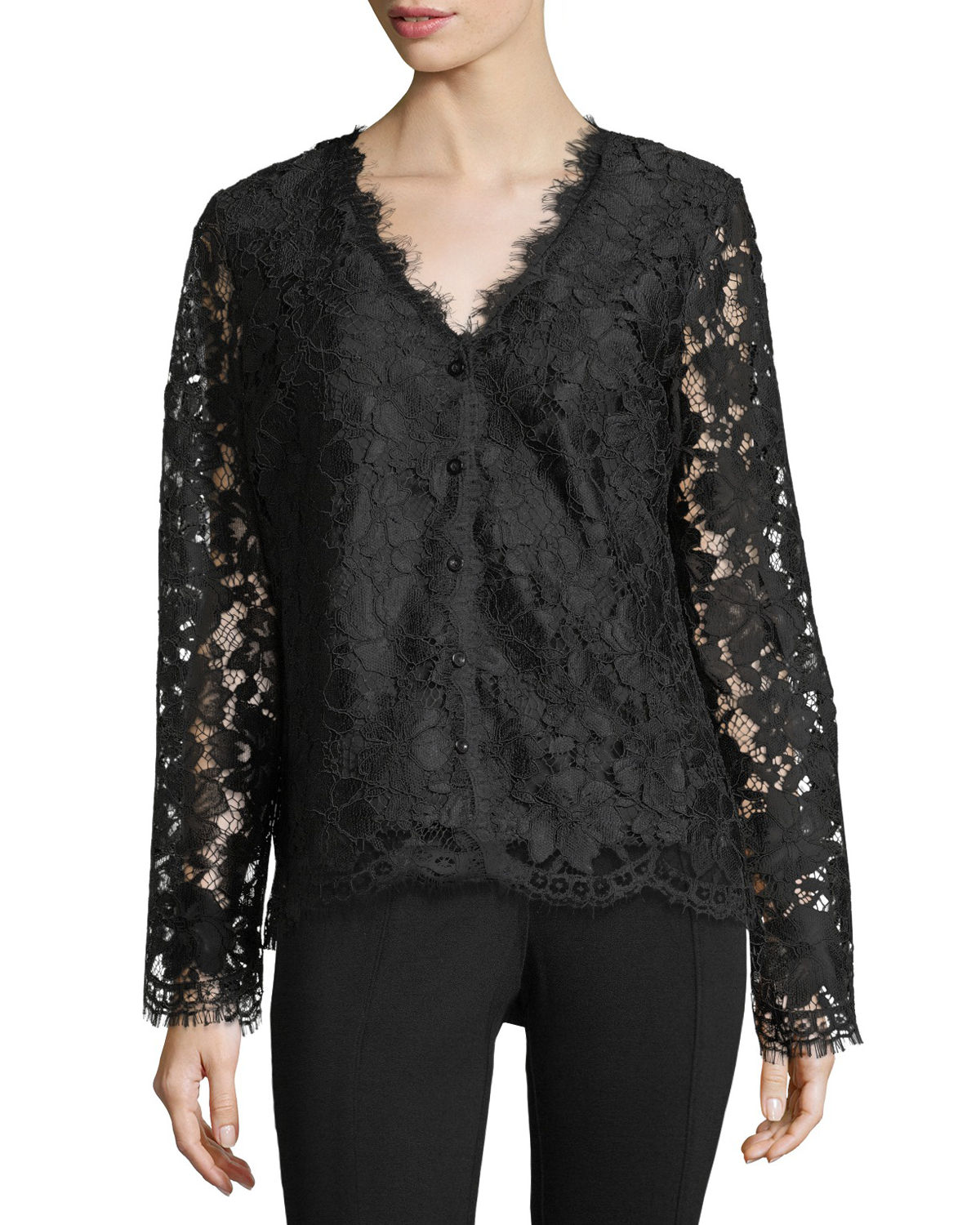 Button-Front Lace Jacket, Black