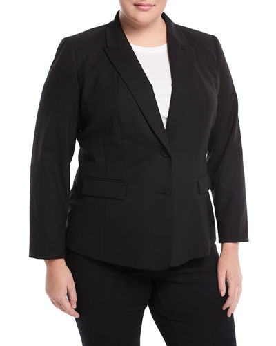 Blake Wool-Blend Two-Button Jacket, Plus Size