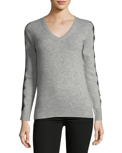 Cashmere Lace-Detail Sweater, Heather Grey