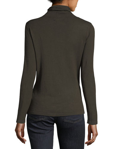 Ruched-Front Turtleneck Top