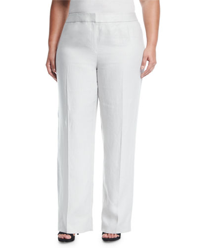 Linen Menswear Straight-Leg Trousers, Plus Size