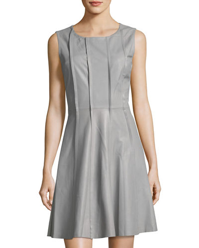 Sleeveless Leather & Jersey Combo Dress, Taupe