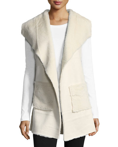 Faux-Shearling Long Vest, Ivory