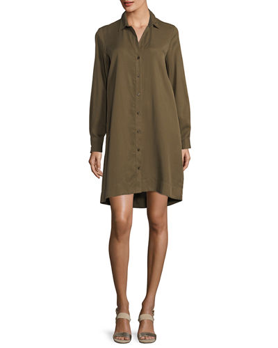 Shirtdress w/Lace-Up Back, Olive