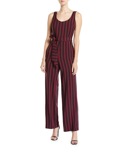 Karl Lagerfeld Paris Striped Belted Jumpsuit