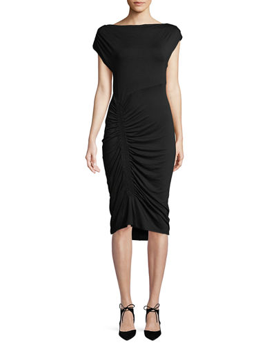 Ruched-Skirt Midi Dress