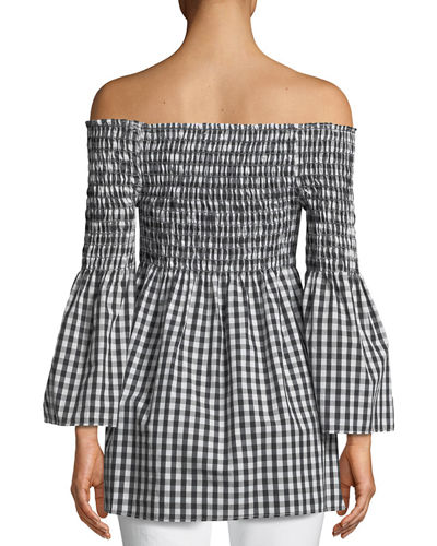 Off-The-Shoulder Bell-Sleeve Gingham Blouse