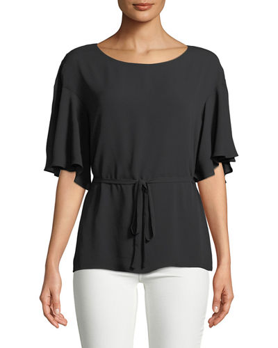 Flutter-Sleeve Tie-Waist Top, Black