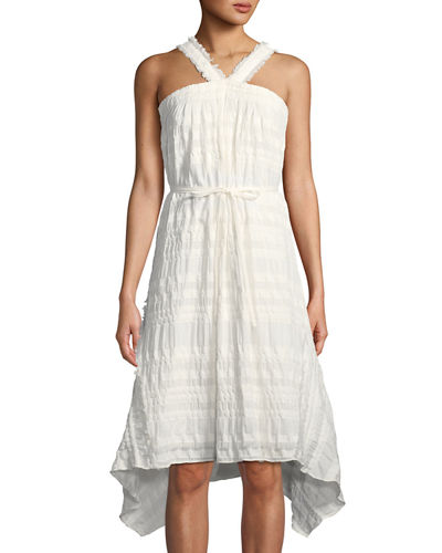 Natori Sleeveless Plisse Stretch-Cotton Dress