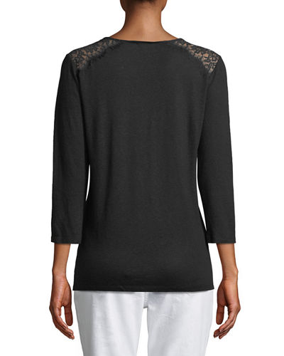 Lace-Trimed Jersey Tunic